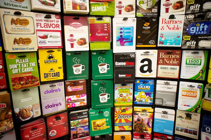 A selection of gift cards in a store in New York on Wednesday, November 2, 2011. (© Richard B. Levine)